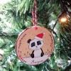 panda personnalise avec bonnet de noel a accrocher dans le sapin