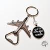 porte-clé décapsuleur avion avec message à personnaliser