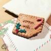 magnet biscuit texte Joyeux Noël sucre d'orge et feuilles de houx