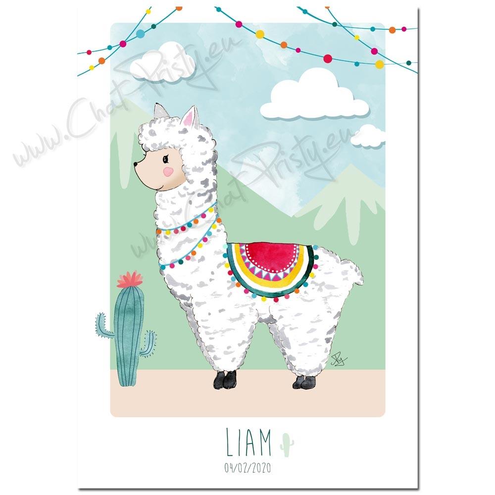 affiche naissance lama alpaga personnalisable pour enfant