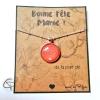 Collier médaillon rond fond corail message mamie d'amour bijou fête grands-mères