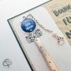 Marque-page bonne fête mamie médaillon bleu en forme de tête de chat