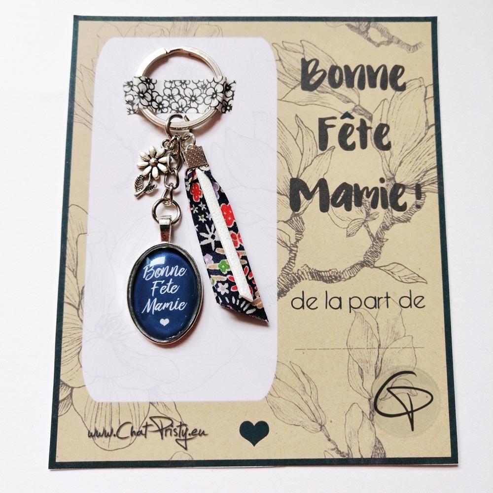 Porte-clé bonne fête mamie bleu ruban motif liberty breloque fleur