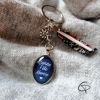 Porte-clé original fête des grands-mères ruban motifs liberty médaille bleue