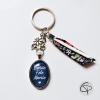 Porte-clé médaille ovale bleue message bonne fête mamie ruban liberty