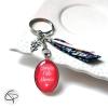 Porte-clef original fête grands-mères ruban motif liberty médaillon corail
