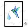 tableau avec dessin de colibri de créateur realisé en peinture l'aquarelle