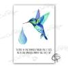 Poster avec colibri fait main accompagné d'une phrase célèbre