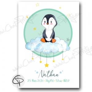 Tableau de naissance pingouin personnalisable prénom bébé