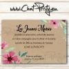 carton d'invitation champêtre pour repas de mariage avec faire-part