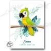 Affiche de naissance perroquet en cadeau original pour l'arrivé d'une fille ou d'un garçon