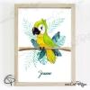 Illustration de naissance perroquet avec cadre personnalisé avec le prénom de l'enfant
