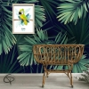 Tableau de naissance original pour chambre d'enfant avec un dessin de perroquet thème tropical