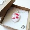 Bijou coquelicot rouge pastel cadeau original pour femme