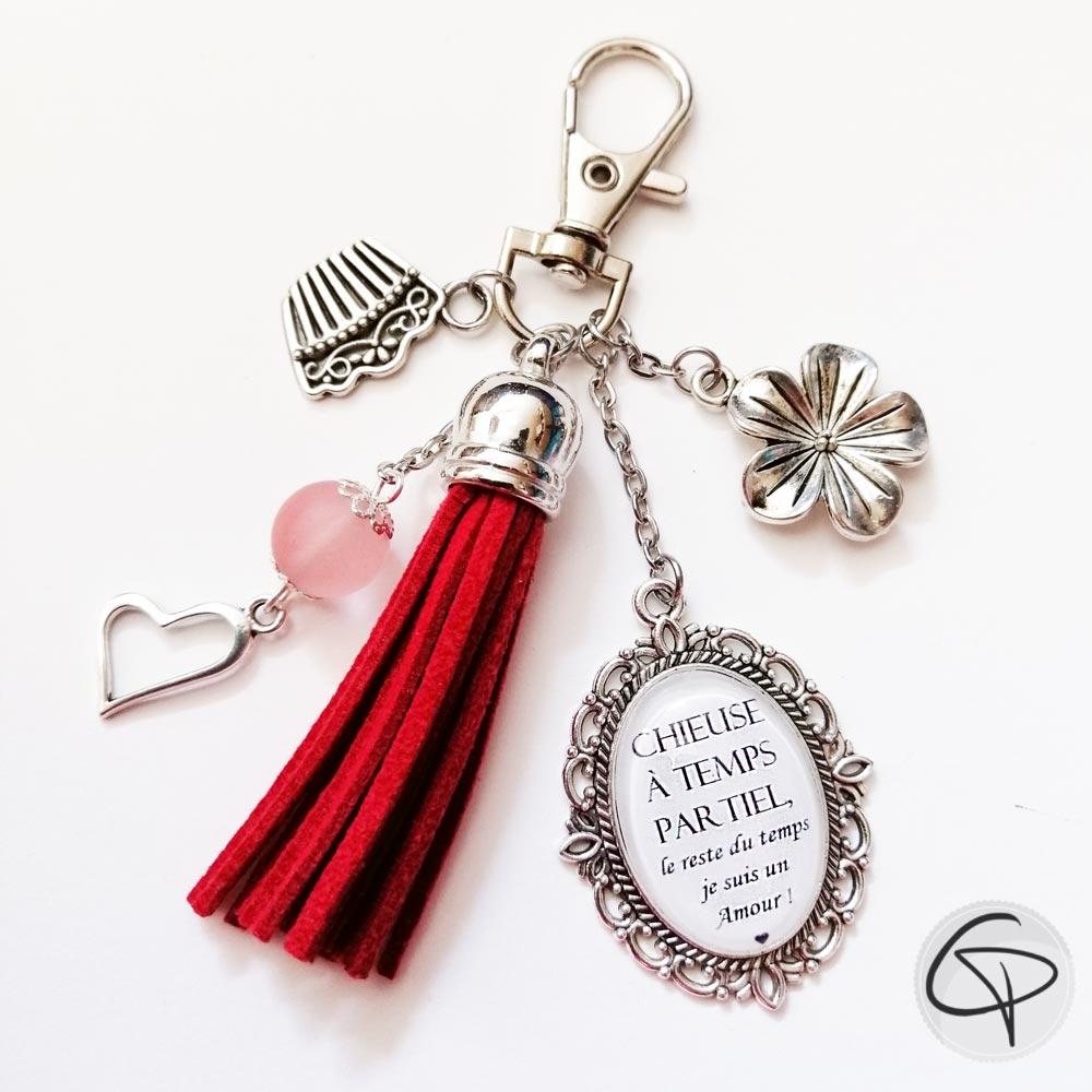 Bijou pour sac pompon rouge message chieuse à temps partiel