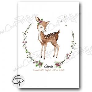 Poster faon pour enfant à offrir en cadeau de naissance original