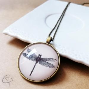 Pendentif libellule dessiné main bijou Made in France