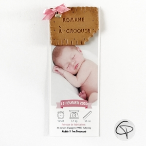 Faire-part biscuit croqué original pour la naissance d'une fille