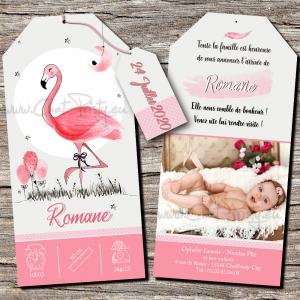 Faire-part de naissance fille flamant rose personnalisable modèle papier