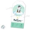 Faire-part de naissance décoré d'un pingouin personnalisable