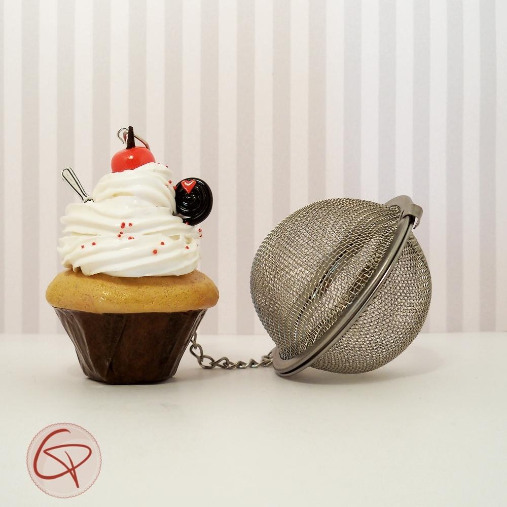 Infuseur à thé original contrepoids cupcake chantilly blanche et réglisse