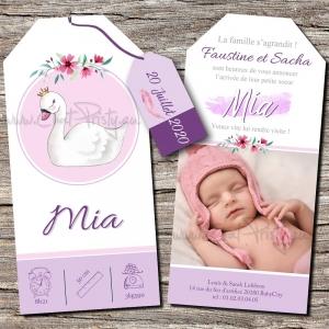 Annonce naissance fille avec dessin de cygne modèle papier 10x21cm