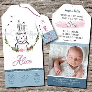 Faire-part de naissance lapin romantique réalisé par un créateur français