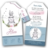 Faire-part de naissance mixte pour garçon ou fille avec un beau dessin de lapin