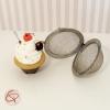 boule à thé cupcake marron et blanc infuseur original poids fait main