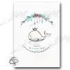 Affiche de naissance bébé baleine couronnée personnalisée