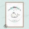 Cadeau de naissance original baleineau couronné personnalisable