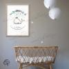 Tableau naissance baleine aquarelle décoration chambre de bébé garçon ou fille