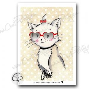 Affiche chat en cadeau de naissance pour fille à personnaliser avec le prénom