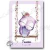 Affiche de naissance personnalisée fille chouette sur sa balançoire