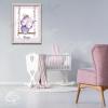 Affiche naissance encadrée chouette mauve décoration chambre bébé