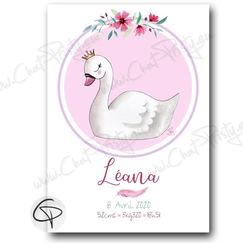 Affiche cygne cadeau naissance fille personnalisée