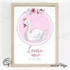 Illustration bébé cygne pour petite fille cadeau original naissance