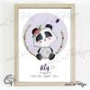 Affiche bébé panda cadeau de naissance fille original encadré