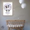 Affiche de naissance panda avec cadre décoration personnalisable prénom fille