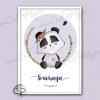 Illustration panda cadeau de naissance original fille