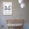 Affiche de naissance pandas personnalisés jumeaux encadrée décoration murale