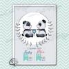 Cadre de naissance pandas jumeaux décoration chambre bébés