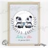 Affiche de naissance pandas personnalisable prénoms frères et soeurs avec cadre