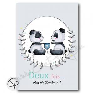 Affiche de naissance pandas personnalisés jumeaux jumelles