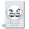 Affiche pandas personnalisée jumeaux cadeau naissance gémellaire