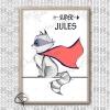 Affiche naissance raton-laveur super-héros personnalisable avec prénom