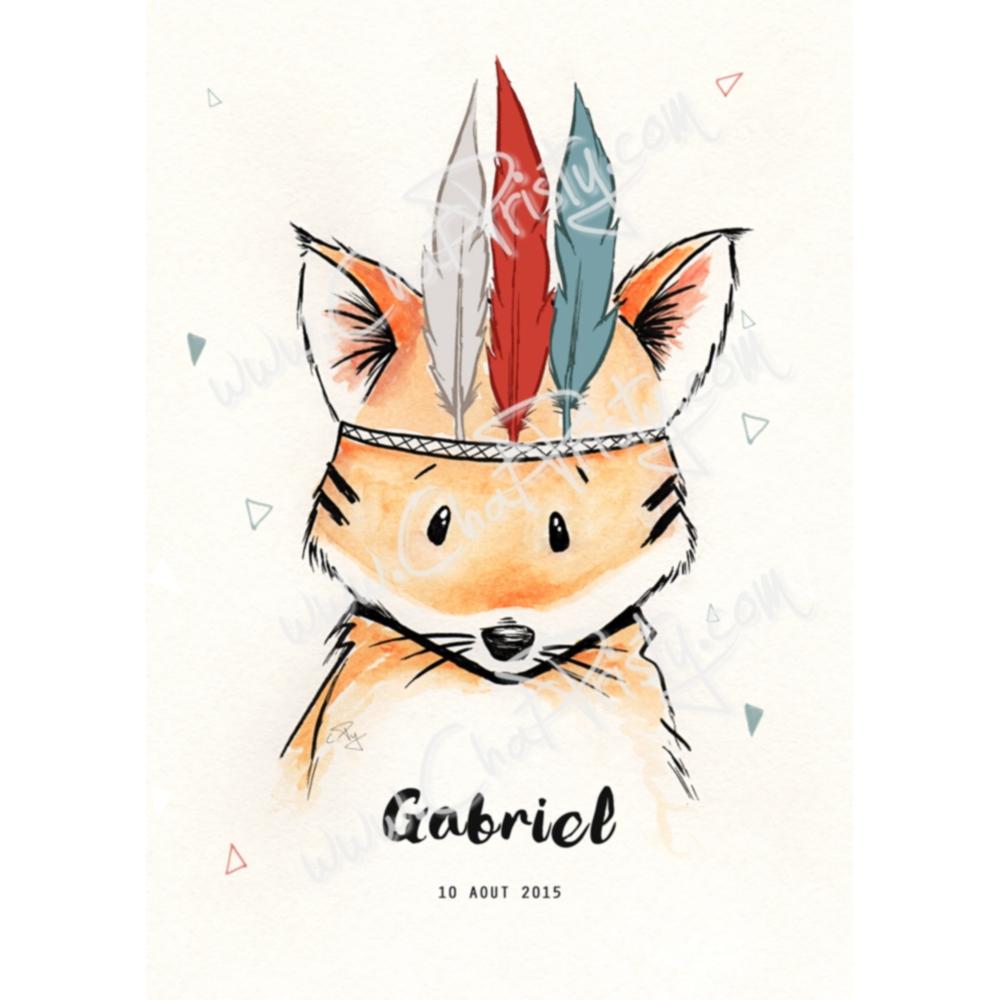 Affiche renard personnalisable cadeau naisance garçon