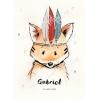 Affiche de naissance renard indien personnalisable cadeau garçon