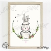 Affiche lapin personnalisé cadeau de naissance originale pour une fille