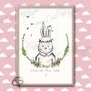 Illustration de naissance lapin personnalisée faite main à l'aquarelle